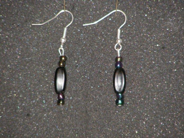Handcrafted black beaded earrings