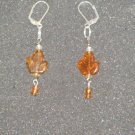 Handcrafted brown leaf glass bead earrings