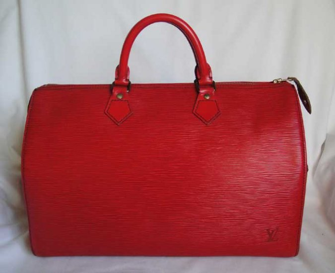 ** RARE ** AUTHENTIC Pre Owned Louis Vuitton RED EPI Speedy 35