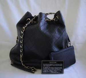 d9f7fb0988422a AUTHENTIC Vintage Chanel Black Lambskin Drawstring Bucket Bag