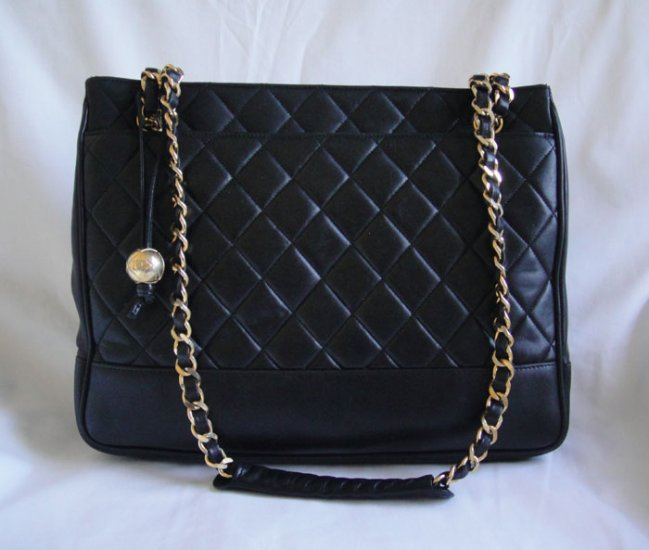 AUTHENTIC Vintage Chanel Black Lambskin Tote with Charm