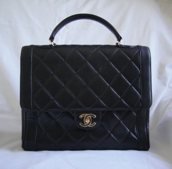 AUTHENTIC Vintage Chanel Black LAMBSKIN Kelly