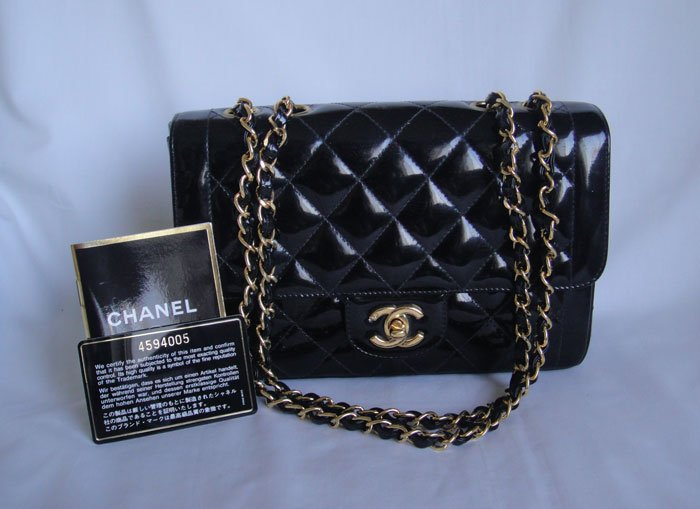 CHANEL Black Patent Leather Classic 2.55 Flap