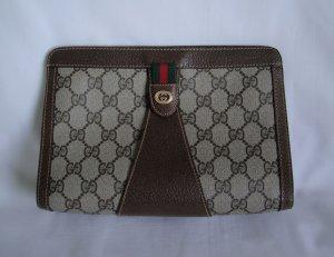 Vintage Gucci Brown w/Red & Green Stripe CLUTCH bag
