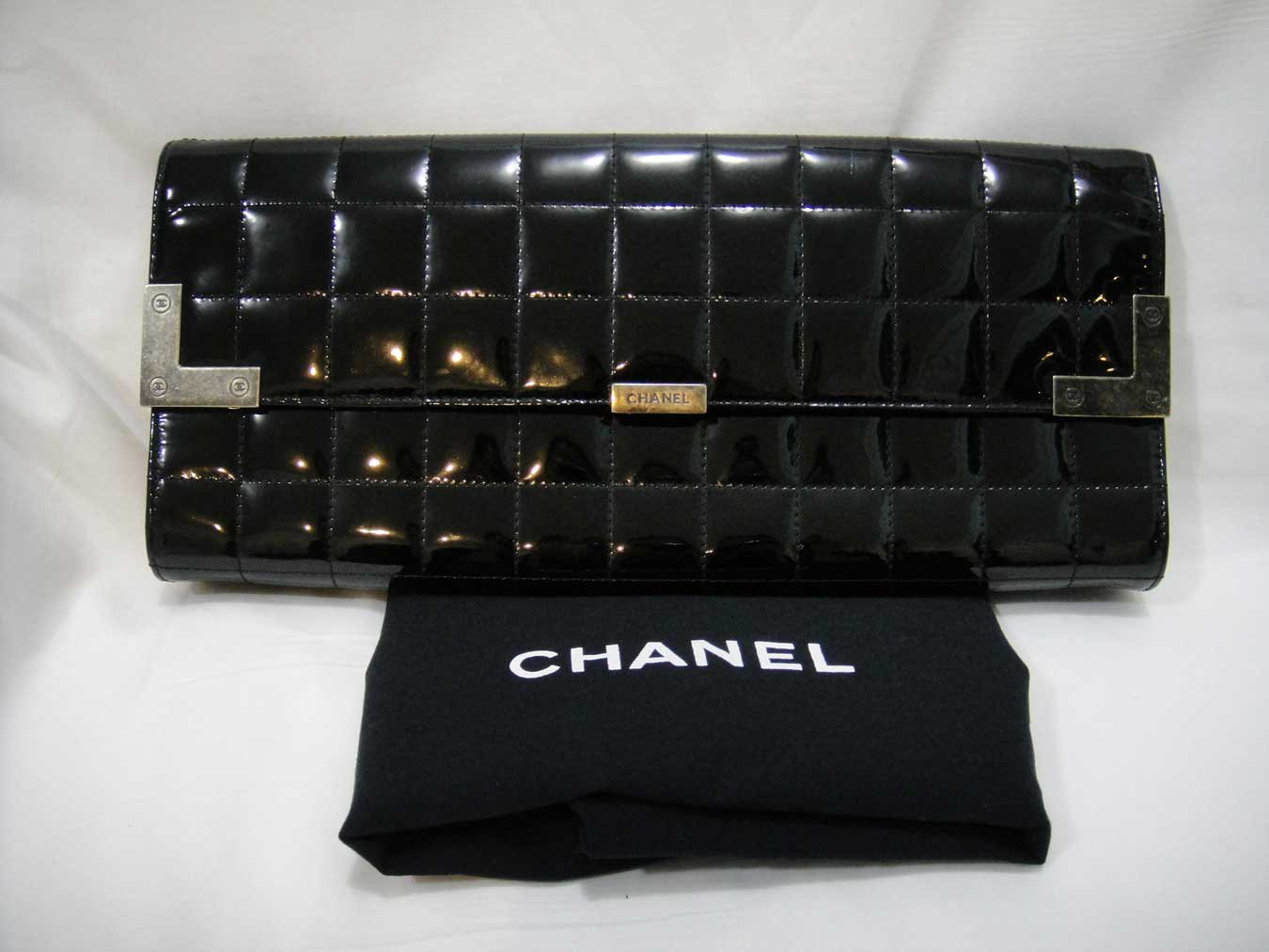 Authentic Black Patent Leather Chocolate Bar Clutch