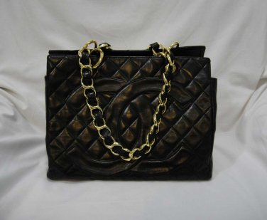 AUTHENTIC Chanel Black Lambskin Timeless Shopping Tote GST
