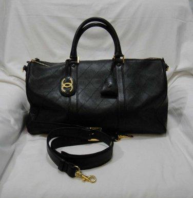 AUTHENTIC Vintage Chanel Black Double Stitch LAMBSKIN Duffel Keepall Weekender