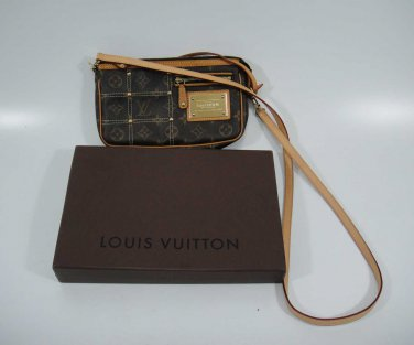 AUTHENTIC Pre Owned Louis Vuitton monogram RIVET Pochette w/Extra Long Strap