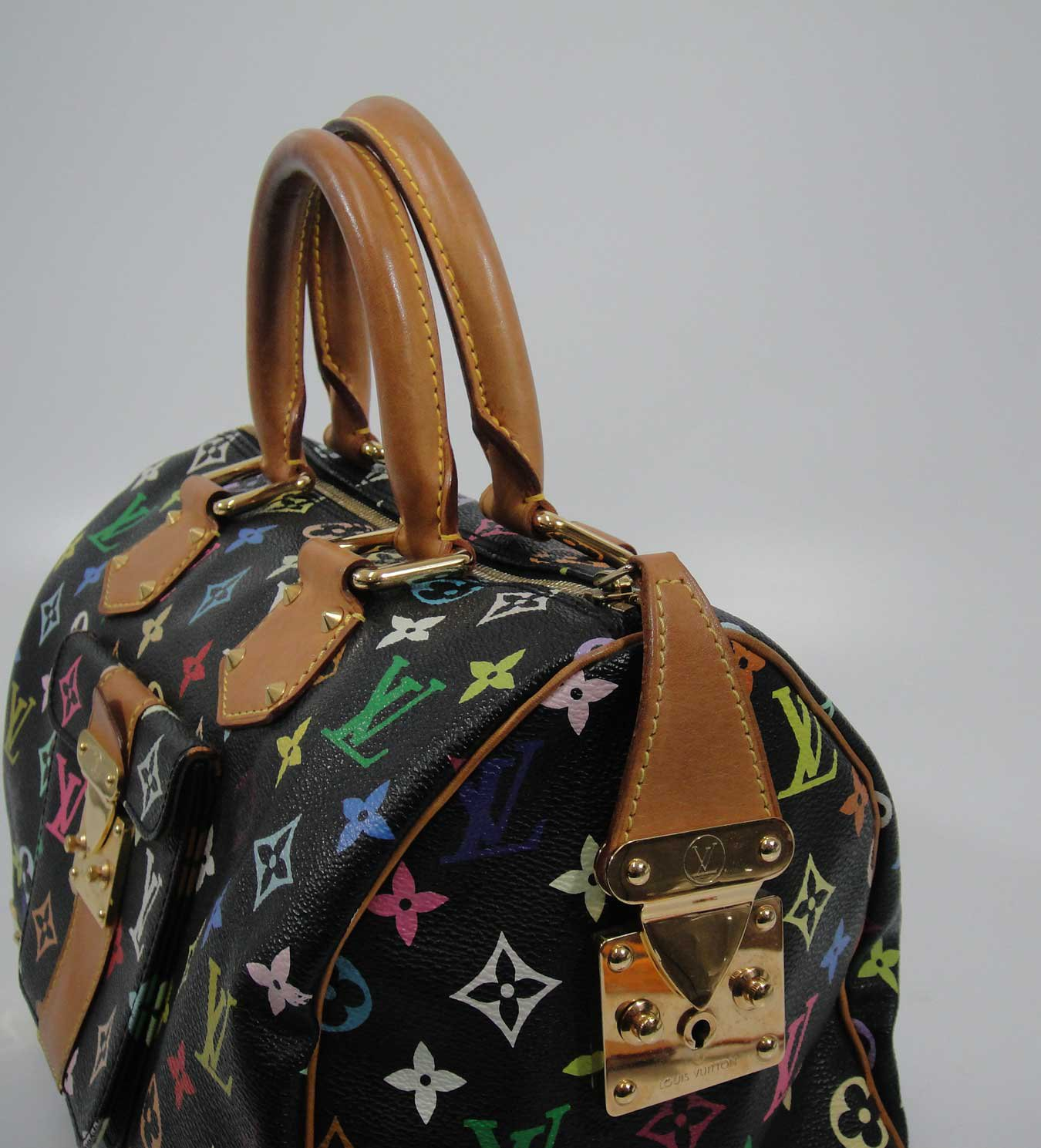 AUTHENTIC Pre Owned Louis Vuitton BLACK Multi Color SPEEDY 30