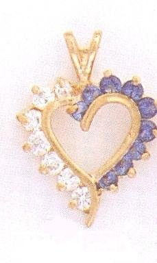 24K Gold w/ White and Blue CZ Stones Charm