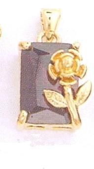 24K Gold Plated Purple CZ w/flower charm