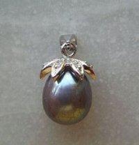 Black Tahitian Pearl Necklace Pendant/Charm