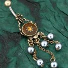 Vintage Look Shield Topaz Color Gem Silver Faux Pearl Dangle Belly Button Navel Ring Bar (3676)