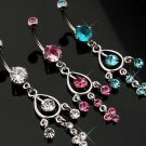 Swarovski Blue Crystal Chandelier Dangle Belly Button Navel Ring Bar with Gem On Top Ball (3718)