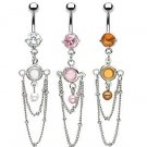 Pink Gem Faux Pearl Bead Chain Drape Dangle Belly Button Navel Ring Bar (6316)