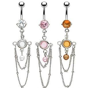 Clear Gem White Faux Pearl Bead Chain Drape Dangle Belly Button Navel Ring Bar (6316)