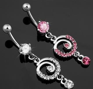 Clear Gem Solitaire Pave Swirl Dangle Belly Button Navel Ring Bar (6701)