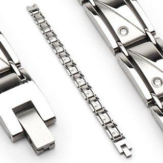 Stainless Steel Link Clear Gems Men's Bracelet (6617)