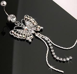 Butterfly Gem Line Chain Dangles Navel Belly Button Ring Bar (5186)