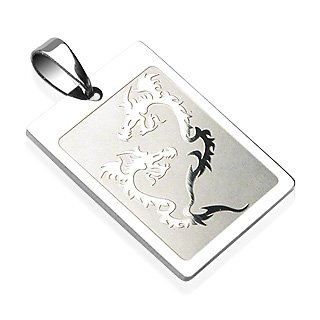 Stainless Steel Double Dragon Tribal Pendant (7211)