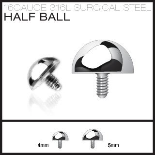 Surgical Steel 5mm Dome Cap for Dermal Surface Anchor Microdermal (SAS04-5)