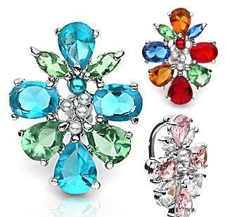 Pink Clear CZ Cluster Reverse Dangle Navel Belly Button Ring Bar (6508)