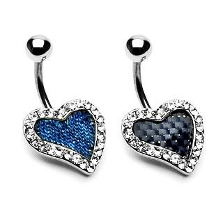 Clear Gem Pave' Real Denim Heart Navel Belly Button Ring Bar (7407)