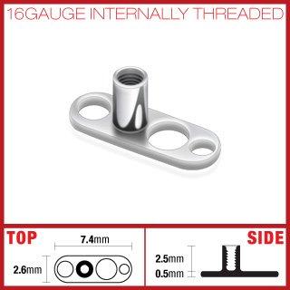 G5 Grade Solid Titanium Dermal Surface Anchor 3 Holes 16 Gauge Microdermal (SA02)
