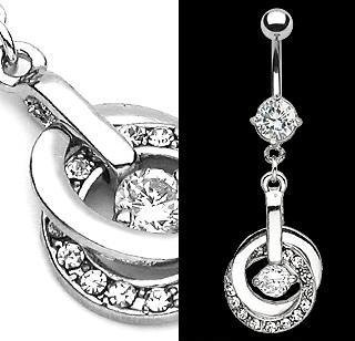 Double Hoop Dangle Belly Button Navel Ring Bar All Clear Gems (6339)