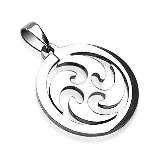 Stainless Steel Round Loop Tribal Whirlwind Spin Pendant (7394)