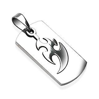 Stainless Steel 2 Part Piece Tribal Thunder Design Pendant (7311)