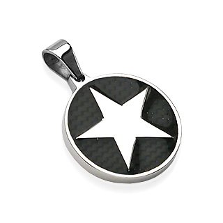 Stainless Steel Round Pendant Star on Black Carbon Fiber Background (7504)