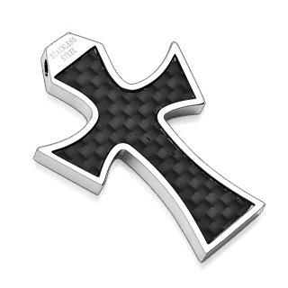 Stainless Steel Black Carbon Fiber Cross Pendant (7002)
