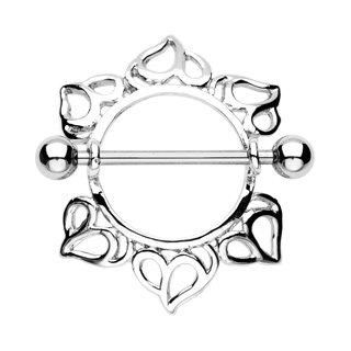 Tribal Heart Nipple Shield Ring Bar Barbell 14 gauge (730)