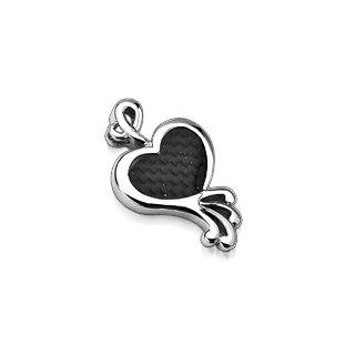 Stainless Steel Black Carbon Fiber Heart Pendant (6691)