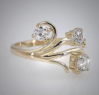 10k Yellow Gold 3-Stone CZ Spray Toe Pinky Ring Toering (511)