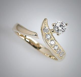 10k Yellow Gold CZ Solitaire Drop CZ Line Toe Pinky Ring Toering (087)