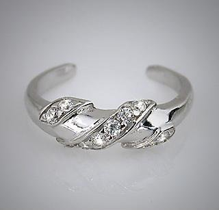.925 Sterling Silver Ribbon Twist CZ Toe Pinky Ring Toering (011)