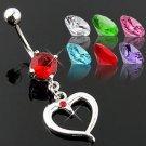 Pink CZ Heart Dangle with Gem Belly Button Navel Ring Bar 14 gauge (2259)