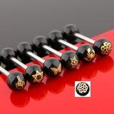 Black Anodized Barbell Tongue Ring Bar with Tribal Heart Inlay