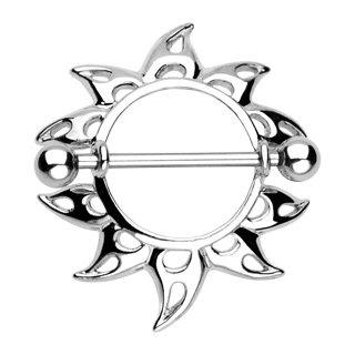 Tribal Sun Sunburst Nipple Shield Ring Bar Barbell 14 gauge (041)