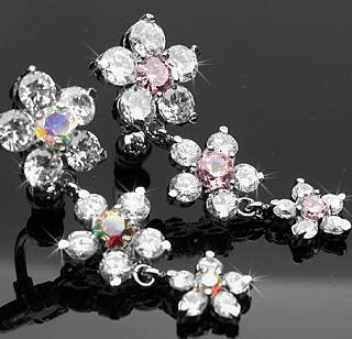 Reverse Dangle Crystal Flower Belly Button Navel Ring Bar Clear Aurora Borealis (4640)