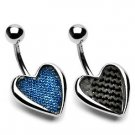 Black Carbon Fiber Heart Belly Button Navel Ring Bar 14 gauge (7406)