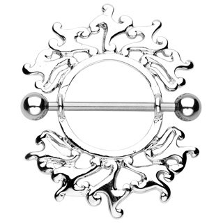 Tribal Flame Nipple Ring Shield Bar Barbell 14 gauge (040)