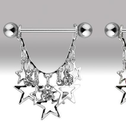 Clear Gem & Star Dangle Nipple Shield Ring Bar Barbell 14 gauge (646)