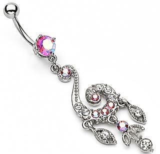 Elegant Swirl Chandelier Belly Button Navel Ring Bar Clear Pink Aurora Borealis Gem Dangle (3722)