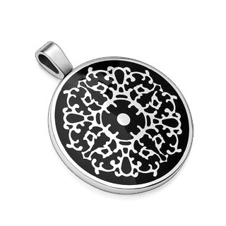 Round Stainless Steel Pendant with Inlay Design on Black Background (7023)