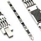 Stainless Steel Black Carbon Fiber Mens Link Bracelet (6626)