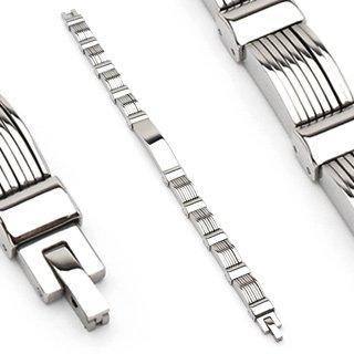 Stainless Steel Mens Link Bracelet Polished Center Link (6639)