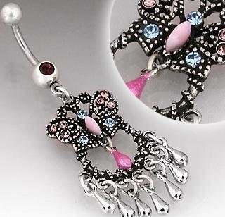 Vintage Style Pink Blue Butterfly Belly Button Navel Ring Bar (3661)